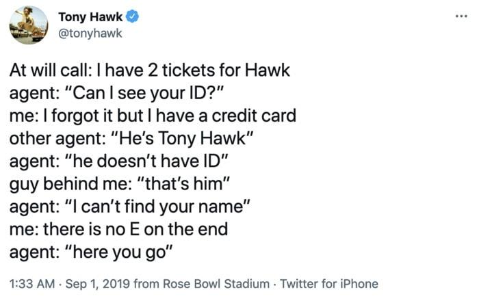 Tony Hawk Tweets - ID