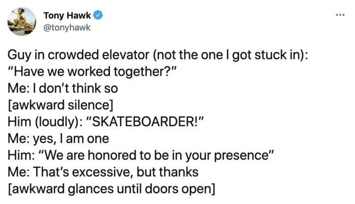 Tony Hawk Tweets - Skateboarder