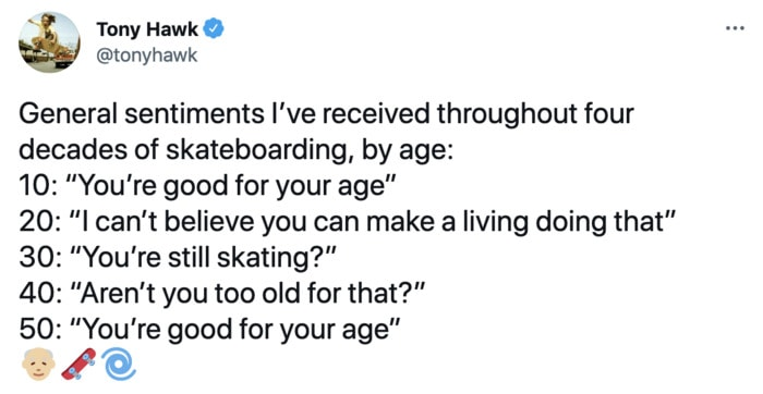 Tony Hawk Tweets - for your age
