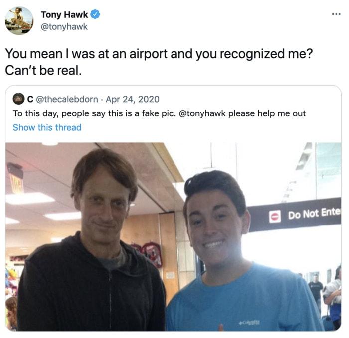 Tony Hawk Tweets - fan
