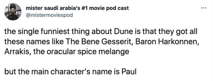 Dune Tweets - funny names