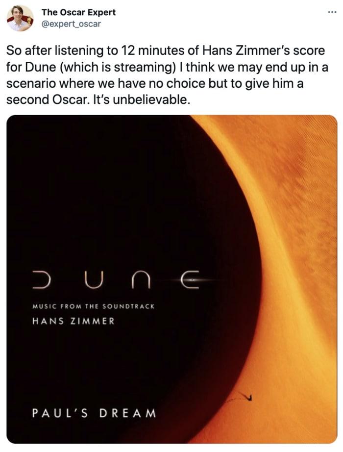 Dune Tweets - Hans Zimmer soundtrack