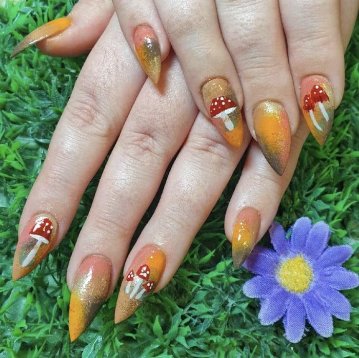 Fall Nail Designs - Hand painted mushroom nails