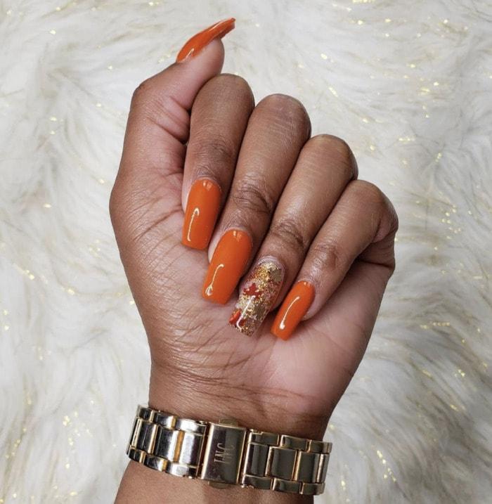 Fall Nail Designs - orange leaf foil nails