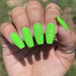 Fall Nail Designs - neon green coffin nails