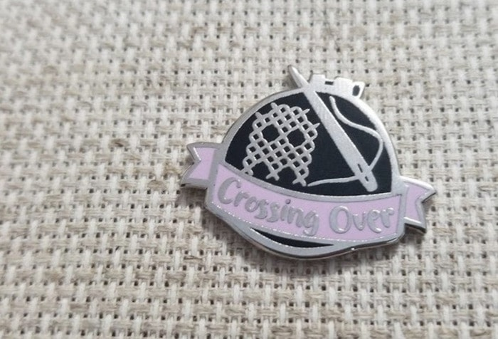 Ghost Puns - crossing over sewing pin
