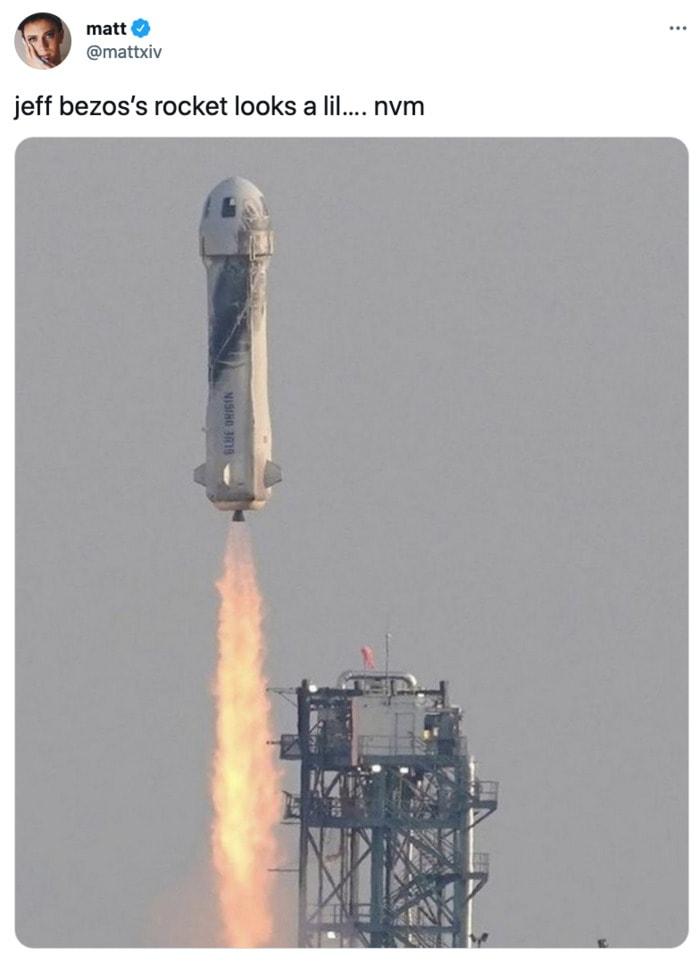 Jeff Bezos Space Tweets - rocket looks like