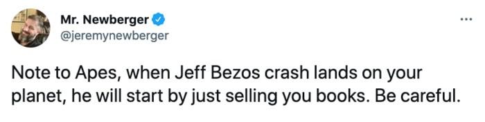 Jeff Bezos Space Tweets - selling books