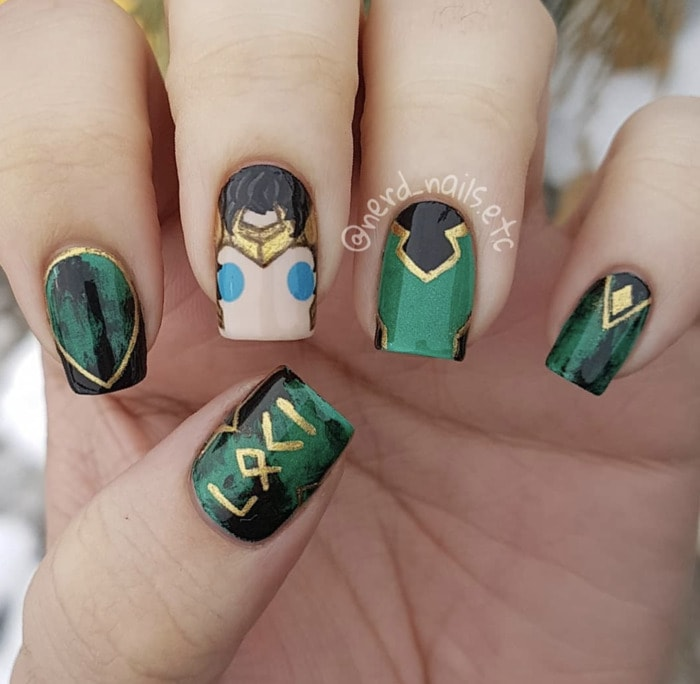 Marvel Nails - Loki Nail Design