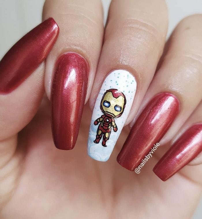 Marvel Nails - Iron Man nail art