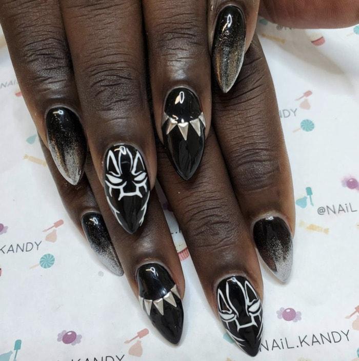 Marvel Nails - Black Panther design