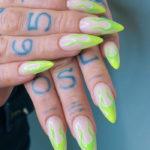 Neon Nails - Green Flame nails