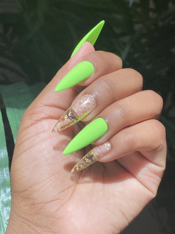Neon Nails - green mismatched nails