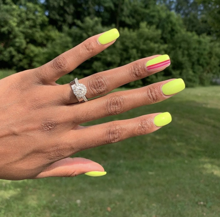 Neon Nails - striped yellow nails