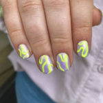 Neon Nails - squiggly yellow nails