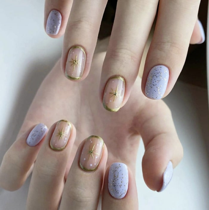 Purple Nail Designs - gold and purple stars