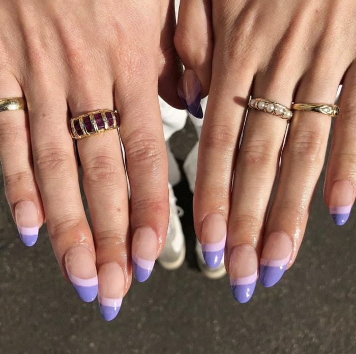 Purple Nail Designs - dark purple tips