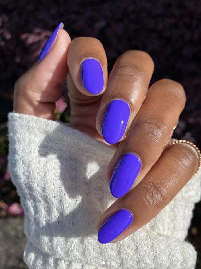 Purple Nail Designs - dark purple round nails