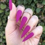 Purple Nail Designs - magenta pointed nails