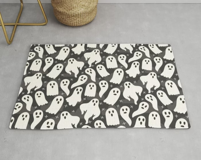 Ghost Rugs - black and white spooky ghosts