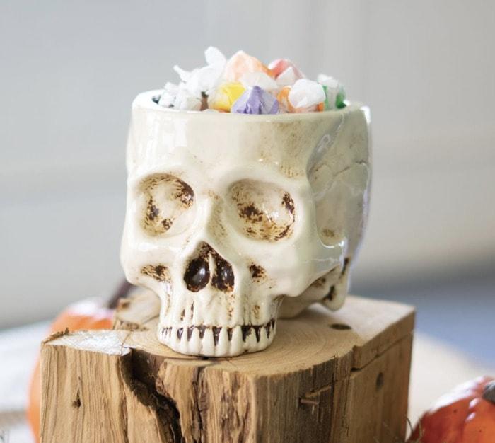 Pottery Barn Halloween - Skull Planter
