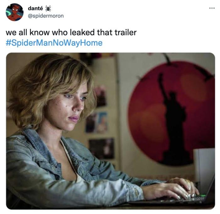 Spider-Man No Way Home Trailer Leak Memes - scarlett johansson