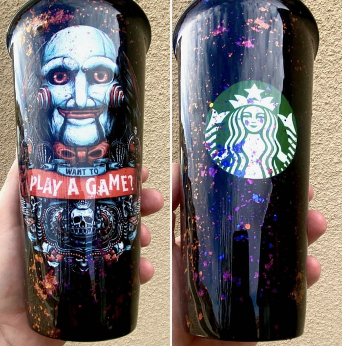 Starbucks Halloween Cups - Saw Puppet