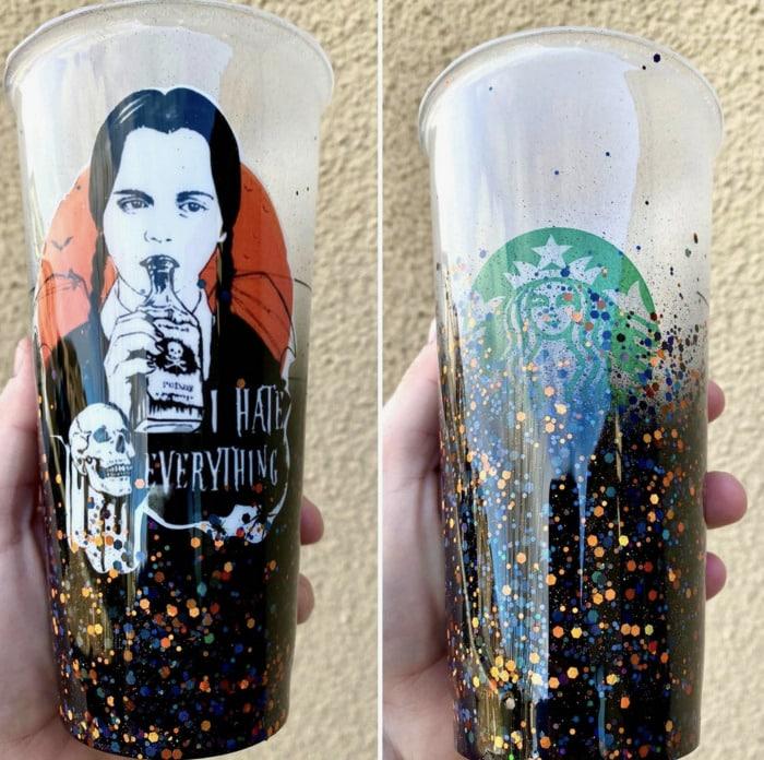 Starbucks Halloween Cups - Wednesday Addams