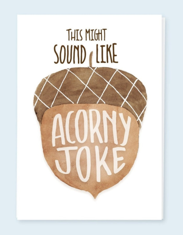 Bad Puns - acorny joke card