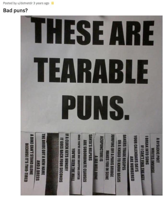 Bad Puns - tearable puns