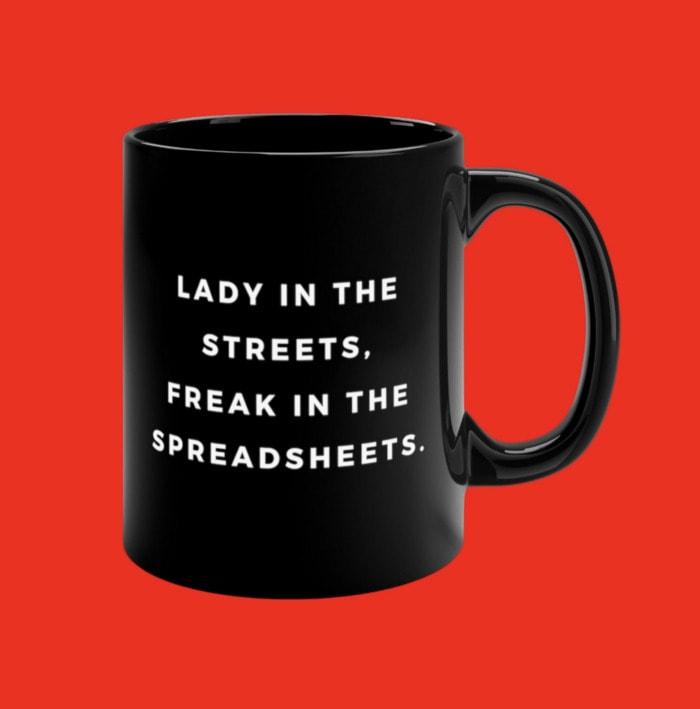 Bad Puns - freak in the spreadsheets mug