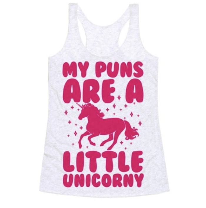 Bad Puns - puns are unicorny tank top