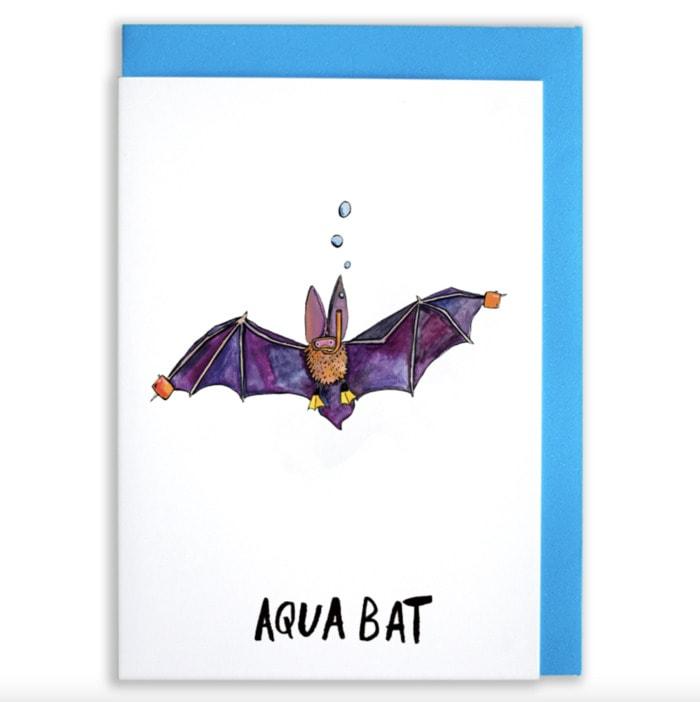 Bat Puns - Aqua Bat Card