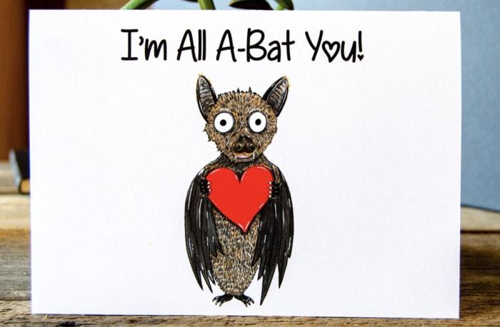 Bat Puns - I'm All A-Bat You Card