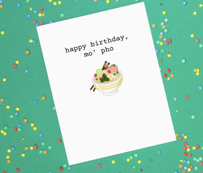 Birthday Puns - mo' pho card