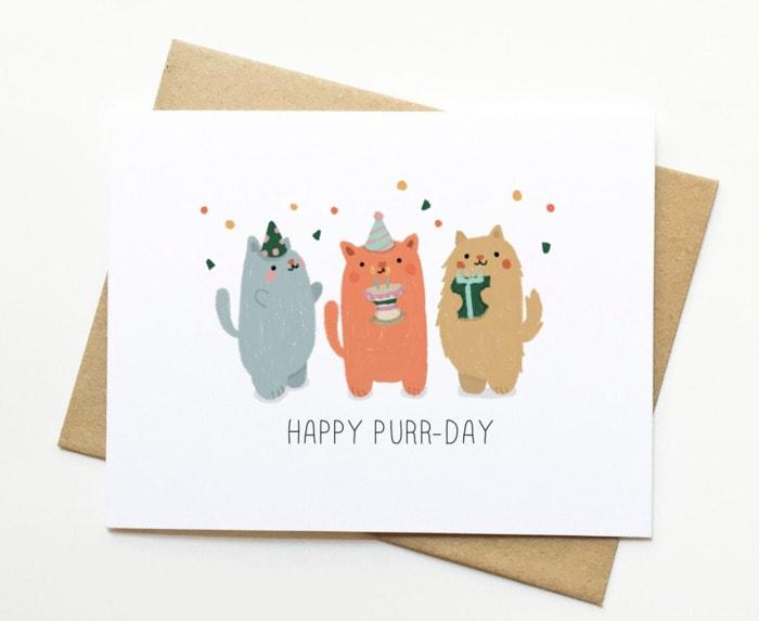 Birthday Puns - Happy purr day card