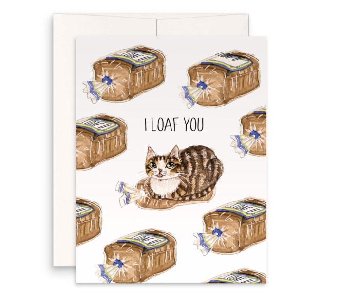 Bread Puns - I loaf you card