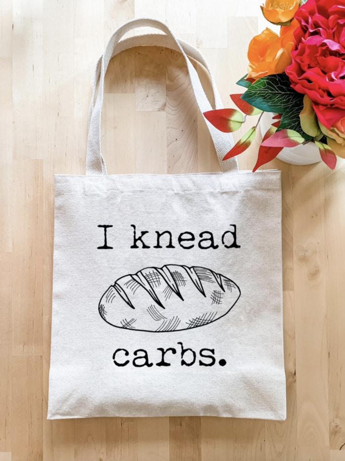 Bread Puns - I knead carbs tote bag