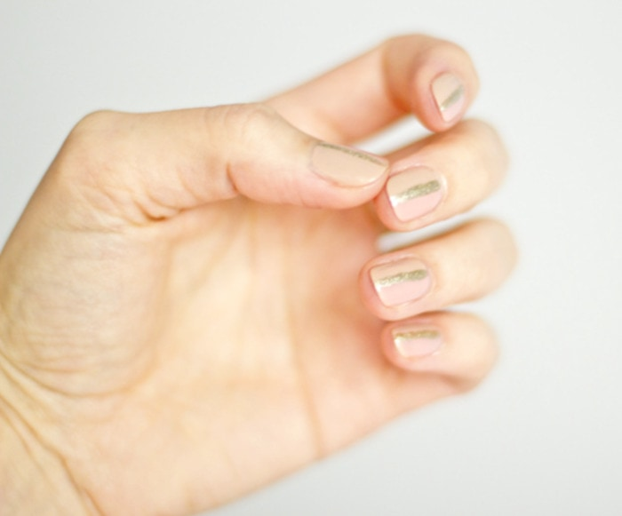 Fall Nail Ideas - nude sparkle nails