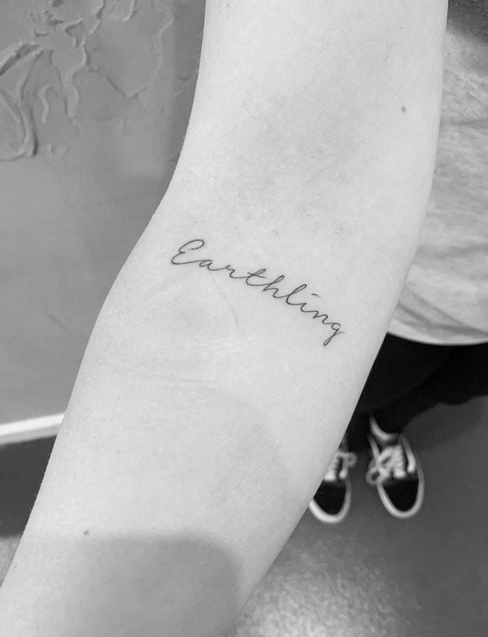 Virgo Tattoo - earthling phrase