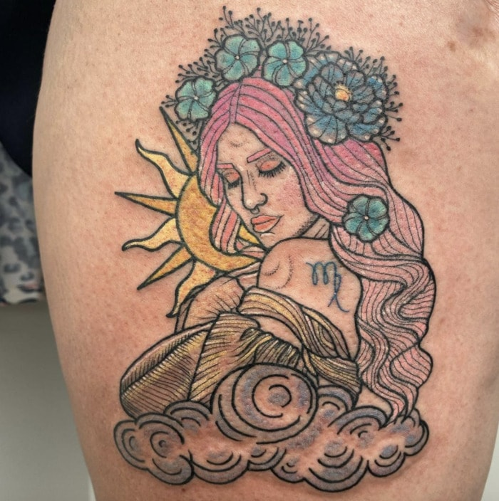 Virgo Tattoo - girl with flower crown