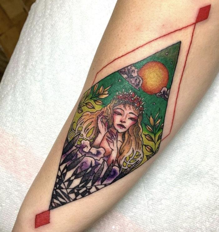 Virgo Tattoo - diamond ink with woman