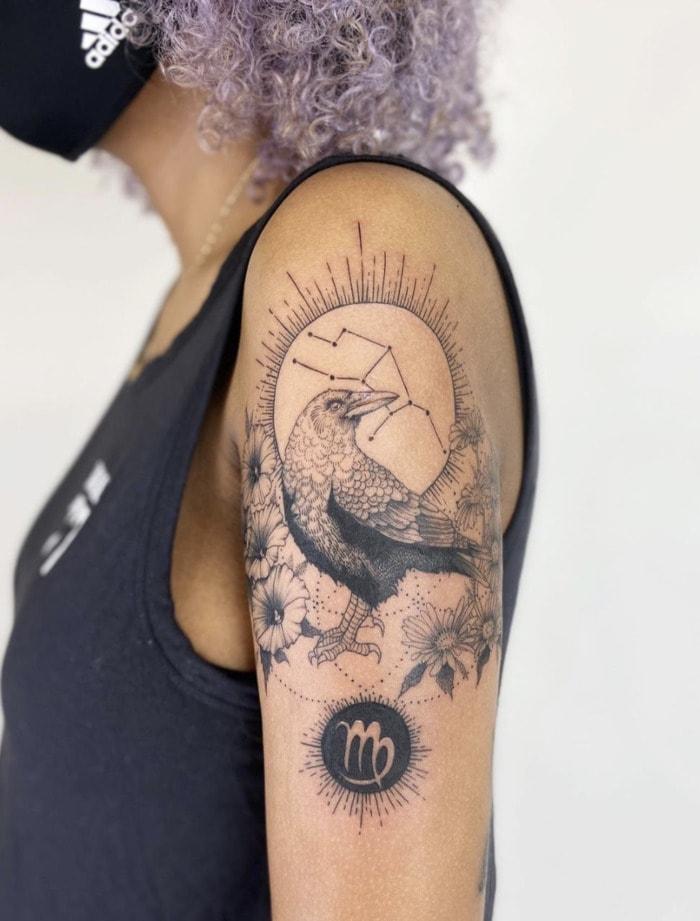 Virgo Tattoo - raven glyph tat