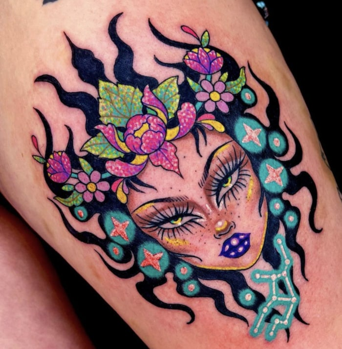 Virgo Tattoo - colorful Virgo lady