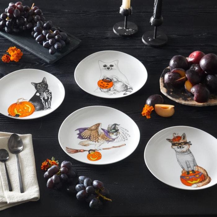 West Elm Halloween Collection - Dapper Animal Halloween Salad Plates