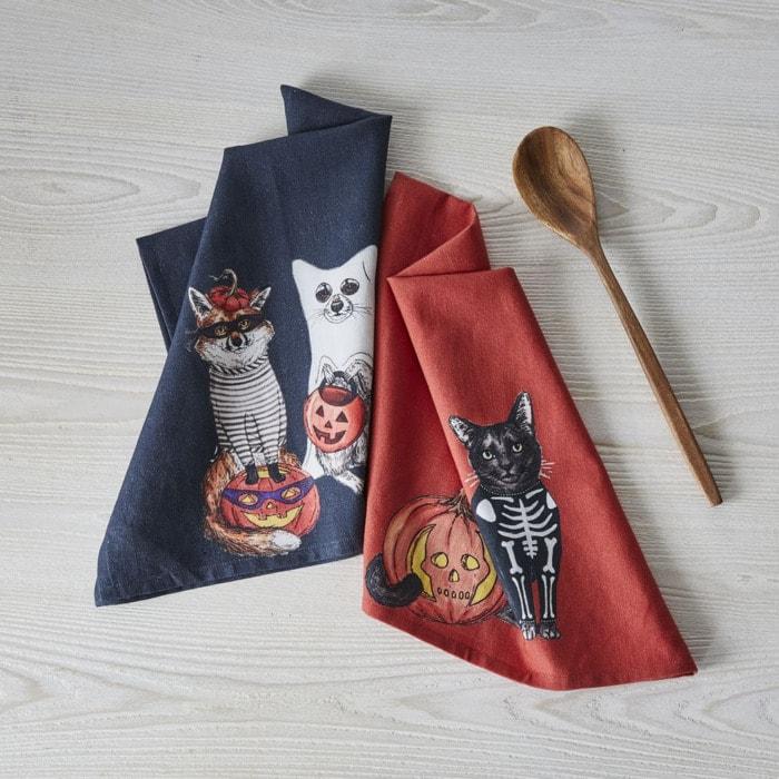 West Elm Halloween Collection - Dapper Halloween Animal Tea Towels