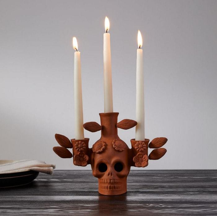 West Elm Halloween Collection - Terracotta Skull Candelabra