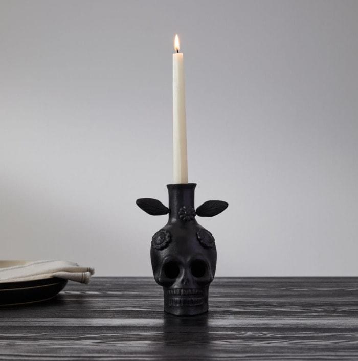 West Elm Halloween Collection - Skull Taper Holder