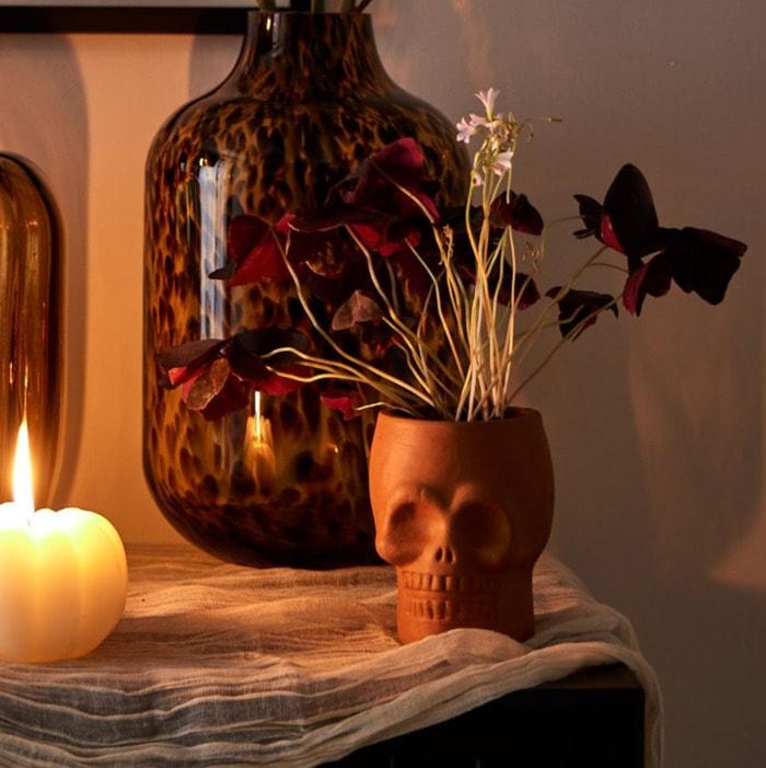 West Elm Halloween Collection - Terracotta Skull Vase