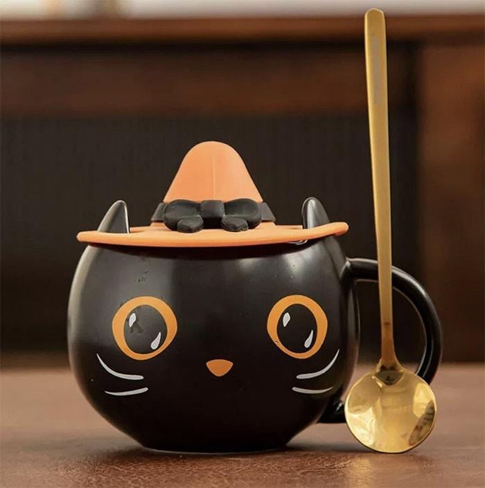 Starbucks Halloween Cups - Ceramic Black Cat Witch Mug